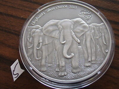 Afrika Ghana 5 Cedis 2013 Antique Finish Elefantenherde  Silber 1 oz elephants