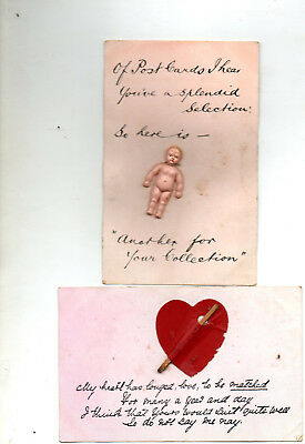 2 Old Novelty Postcards - Please Look