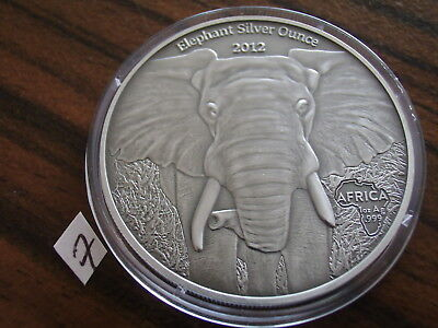 Gabun 1000 Francs 2012 Antique Finish Afrikanischer Elefant Silber 1 oz elephant