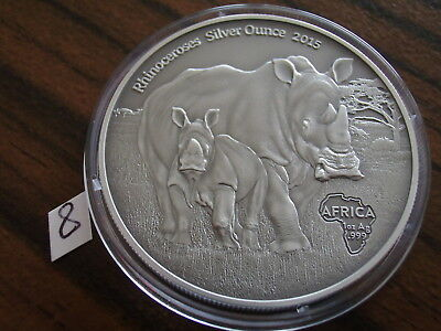 Afrika Kongo 1000 Francs Silber 2015 Antique Finish Nashorn Africa Rhinoceros BU