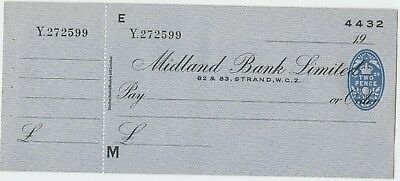 Midland Bank Cheque Strand London 1936 with two pence revenue