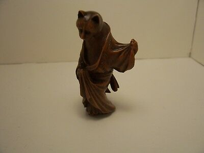Resin Netsuke Cat With Robe Signed  Cpms ?