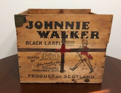 Vintage Johnnie Walker Scotch Whiskey Wood/Wooden Crate Case Product of Scotland