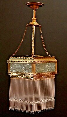 Unique Antique 1910s Modernist Glass Square Chandelier Vintage Lamp Belle Epoque