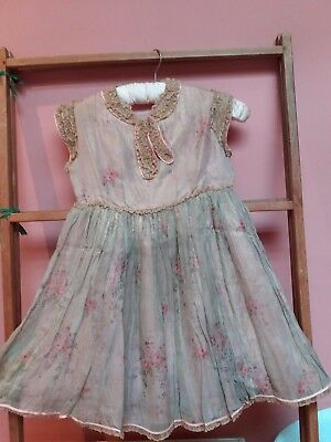 VINTAGE 1920 childs party dress lace roses marshall & snellgrove London stunning