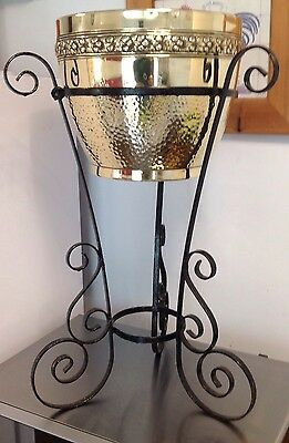 "VICTORIAN Brass Planter JARDINIERE on Ornate 3 leg wrought IRON Stand 23"" Tall"