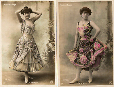 """2 OLD FRENCH 'MOULIN ROUGE"""" POSTCARDS of """"SORIANE"""""""