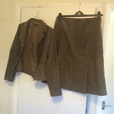 East Corduroy Skirt Suit UK 12 Olive with Teal Trim Used but in great condition