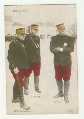 WW1 PATRIOTIC FRENCH postcard - NOS CHEFS - FRENCH GENERLS