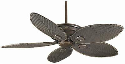 "CASABLANCA 60"" Outdoor Ceiling Fan Brushed Cocoa w 5 Wicker Blades HR C19546K"