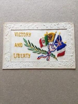 WW1 SILK Embroidered Post Card. Victory And Liberty