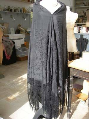Antique vintage 1920s pure silk hand embroidered Canton piano shawl