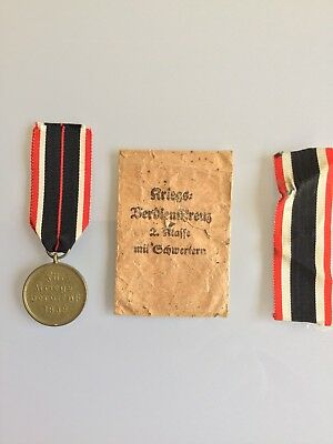 German Ww2 War Service Medal Plus War Merit Cross Ribbon & Issue Packet Bargain