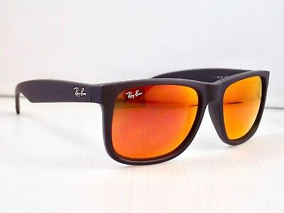 Ray Ban Justin Wayfarer Matte Flash Lens RB4165 622/6Q 54mm & Case
