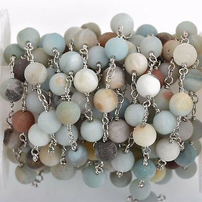 13ft MATTE AMAZONITE GEMSTONE Rosary Chain, silver, 8mm round beads, fch0770b