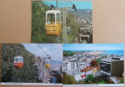 3 Postcards of Cable Cars, Fort Regent, Jersey.