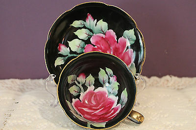 Chugai Occupied Japan Hand Painted Tea Cup And Saucer - Black With Pink Rose