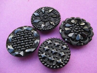4 Antique Vintage  Pressed Black Glass Buttons Lacy Flowers Fabric Effect