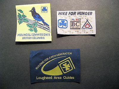 Girl Guides Canada 3 Prov. Commissioner B.c. Lougheed Hunger Hike Silk Patches