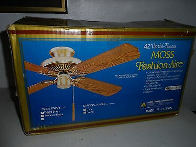 """42"""" 80s Vintage Moss fashion aire Ceiling Fan Bright Brass wood color NIB"""