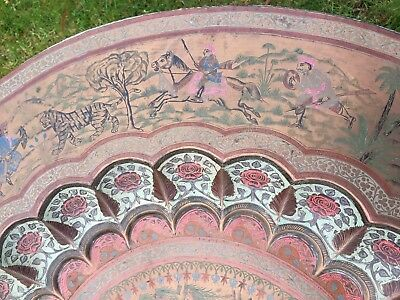 VINTAGE EASTERN TABLE INSCRIBED WITH ANIMALS TIGERS ELEPHANTS ETC  LARGE 30 inch