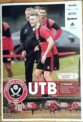 SHEFFIELD UNITED v WALSALL 04.10.2016 CHECKATRADE TROPHY
