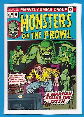 """Monsters On The Prowl #21_February 1973_Very Fine_""""a Martian Stalks The City""""!"""