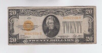 Gold Certificate $20 1928 one old note  lower grade