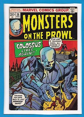 """Monsters On The Prowl #25_Sept 1973_Very Fine_""""colossus Lives Again""""_Bronze Age!"""