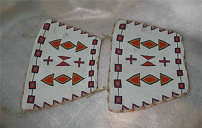 APACHE INDIAN BEADED CUFFS BEADWORK LARGE PAIR  1900's