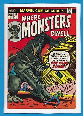 Where Monsters Dwell #21_May 1973_Very Fine/near Mint_Fin Fang Foom_Bronze Age!