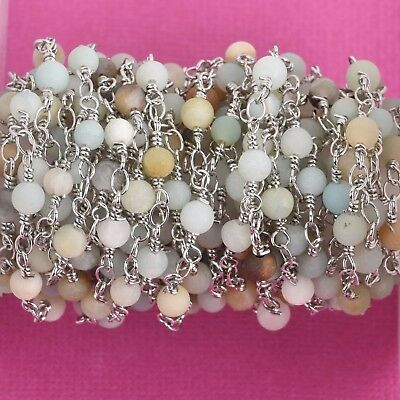 1 yard MATTE AMAZONITE GEMSTONE Rosary Chain, silver, 4mm round beads fch0772a
