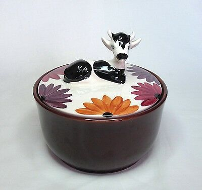 Vintage Oldcourt Lidded Butter / Cheese Dish - Black & White Freisan Cow / Calf