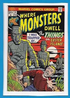 """Where Monsters Dwell #24_October 1973_Very Fine_""""the Things On Easter Island""""!"""