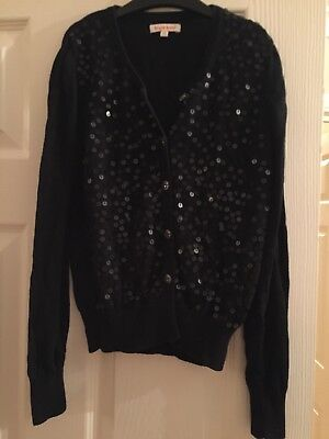 Girls Black Cardigan Blue Zoo sequins and glass buttons Age 9-10
