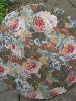 Divine antique vintage French 1920s fabric covered parasol - cabbage roses A