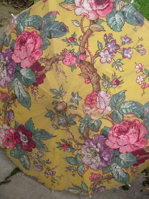 Divine antique vintage French 1920s fabric covered parasol - cabbage roses B