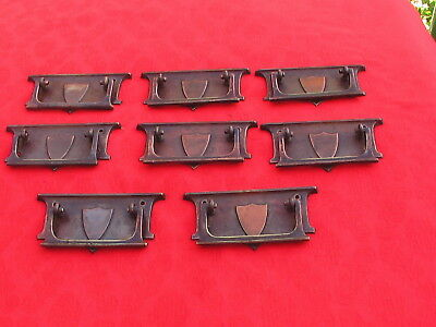 Set of 8 Antique Brass Chest of Drawer Handles Matching Arts & Crafts