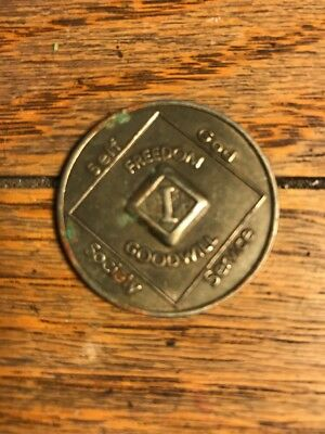 Narcotics Anonymous NA Medallion 1 Year Coin Chip Token Clean Sobriety Sober
