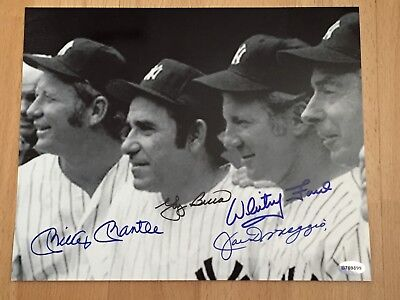 Mantle / Yogi / DiMaggio / Ford . Autographed 8x10 Photo  Mat......Certified