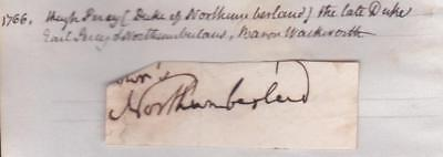 GB cut signature NORTHUMBERLAND ( Hugh Percy, 3rd Duke about 1830
