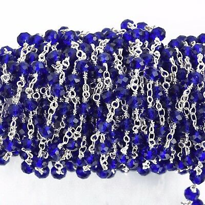 3ft BLUE Crystal Rondelle Rosary Chain, gold double, 6mm rondelle fch0641a
