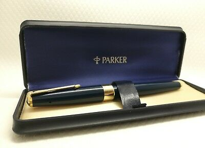 Parker 17 super duofold navy blue  gold nib gold filled trim made in England