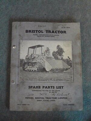 BRISTOL TRACTOR ANGLEDOZER/DUPLEX/EUROPA - MODEL P.D (Power Diesel) PARTS MANUAL