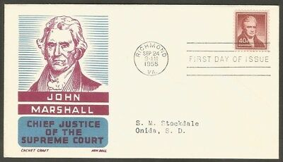 Us Fdc 1955 John Marshall 40C Stamp Cachet Craft K Boll First Day Of Issue Cover