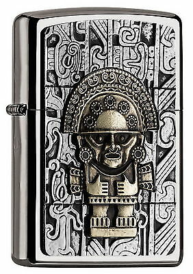 Rare Zippo Lighter - AZTEC - TWO TONE - GOLD and CHROME ZIPPOS ZIPO ZIPOS