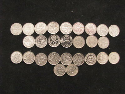 SILVER 3d THREEPENCES, two date runs, 1907 - 1922, & 1931 - 1941,  27 Coins.