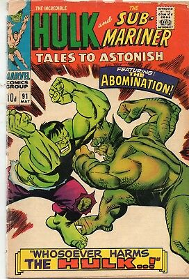 TALES TO ASTONISH # 91 / GOOD / 1st ABOMINATION / PRICE VARIANT.