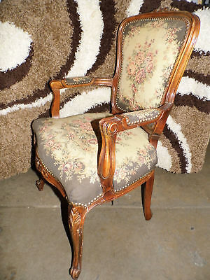 Antique Louis XV Rococo Style Chair Vintage Hand Woven Armchair Cloth Original