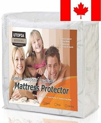 Waterproof Bamboo Mattress Protector - Hypoallergenic fitted Mattress Cover -...